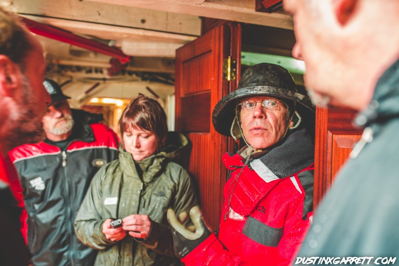 The captain telling us about different areas of the ship
