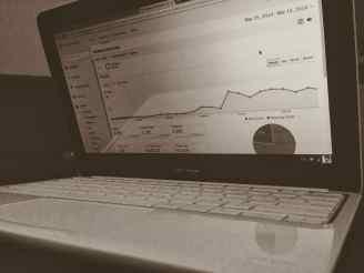 black and white laptop analytics