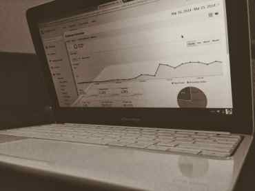 black and white laptop analytics