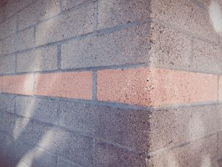 brick wall with pink stripe