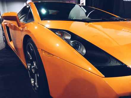 orange lamborghini headlight