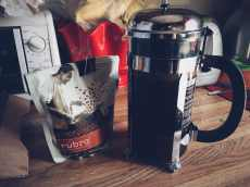 coffee grounds and french press