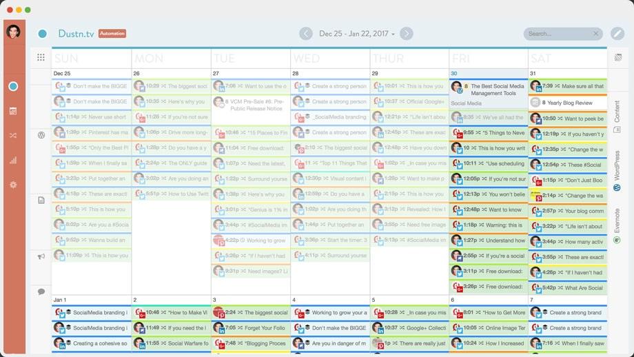 CoSchedule marketing calendar view