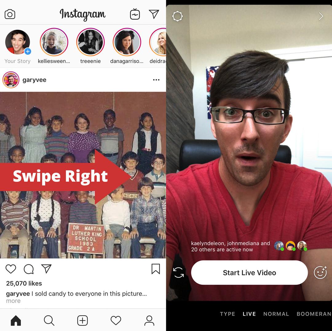 Instagram feed swipe right screenshot