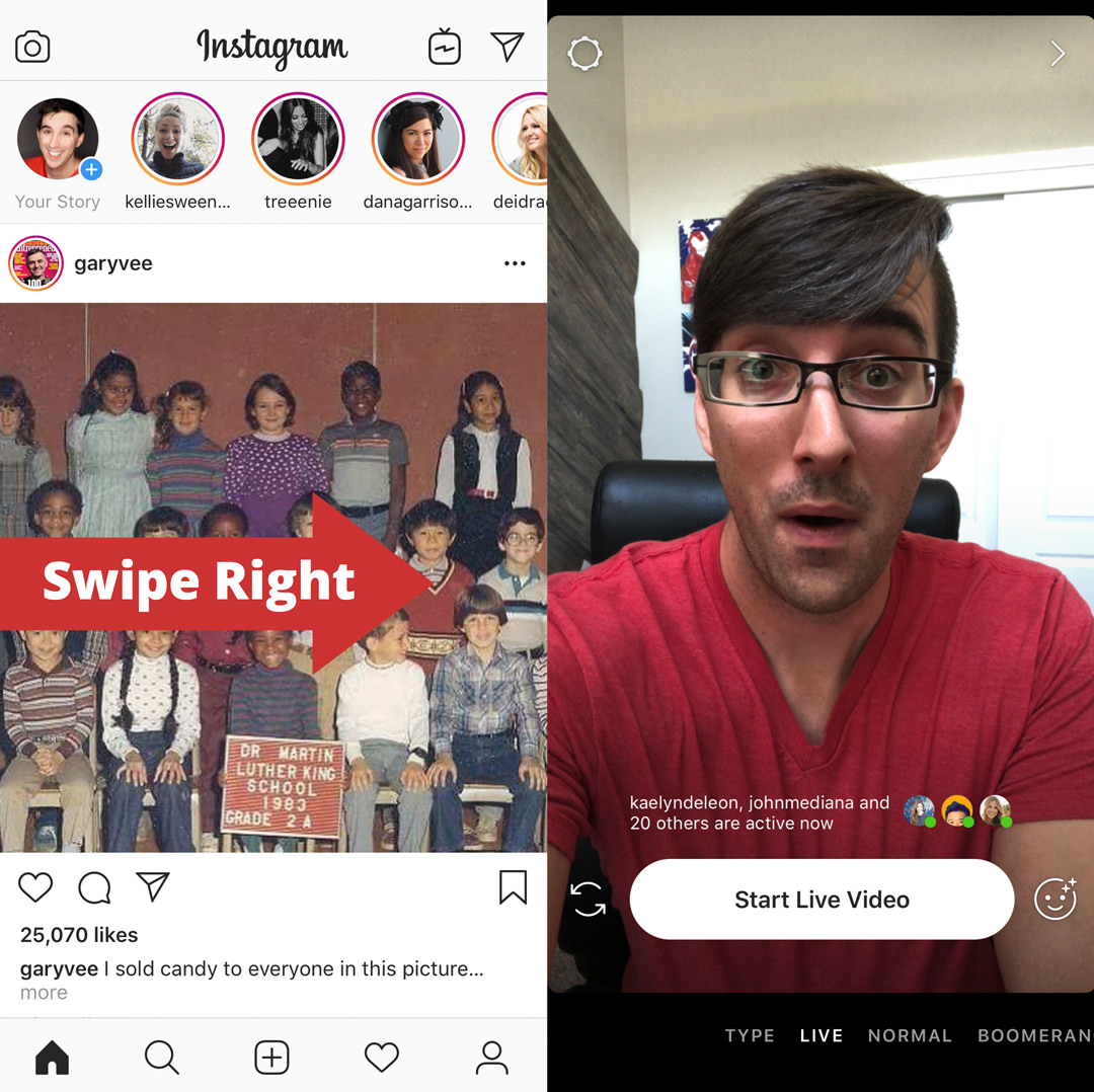 Instagram feed swipe right screenshot