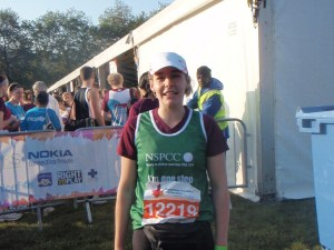 Before the start of my second half marathon. Note: I'm wearing the race t-shirt.
