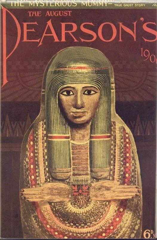 Sanssiz Mumya hikayesini iceren 1909 Pearson Dergisi Kapagi