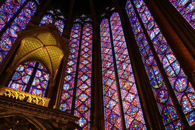 The extraordinary details of the stained glass windows of Sainte-Chapelle in Paris.