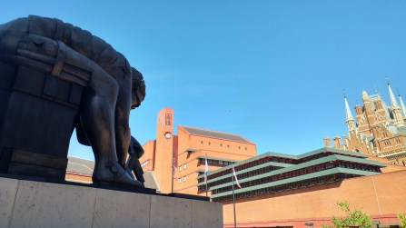 In the courtyard of the British Library