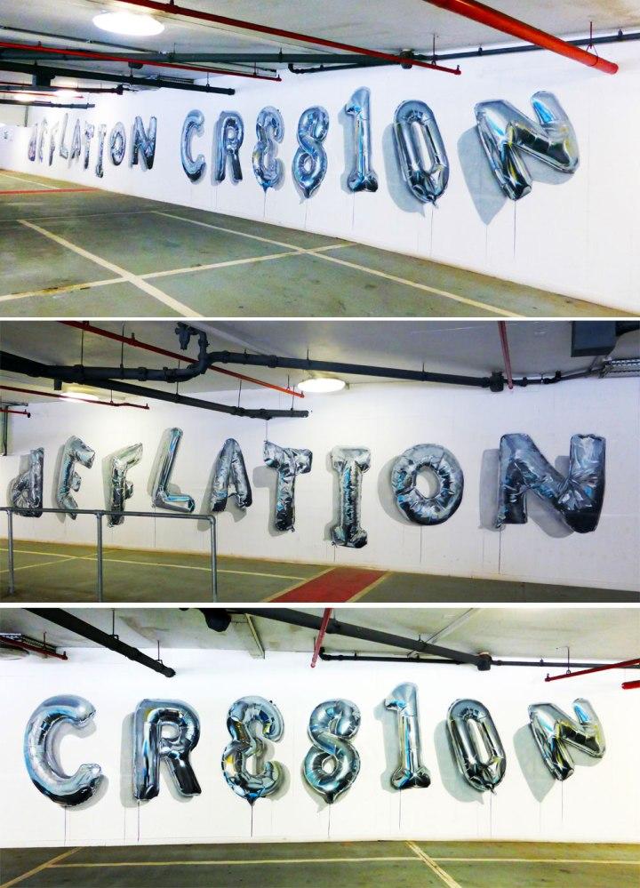 fanakapan walthamstow car park E17 balloon deflation creation street art