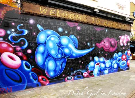 Fanakapan mural on restaurant Kinkao on Pedley Street in Shoreditch