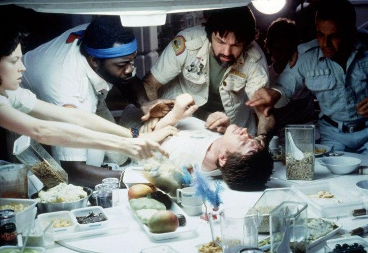 Still from Alien of the Chestburster scene