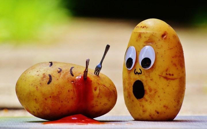 funny photo of potato stabbed to death with a knife and fork