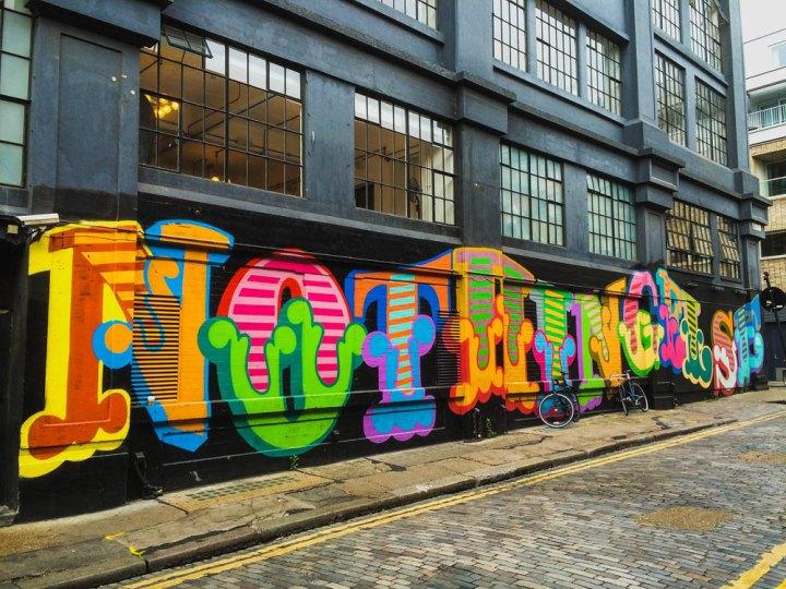 Typographic street art by Ben Eine on Shoreditch House in Ebor Street