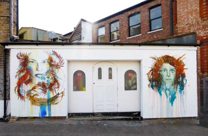 Carne Griffiths floral street art in Walthamstow, London
