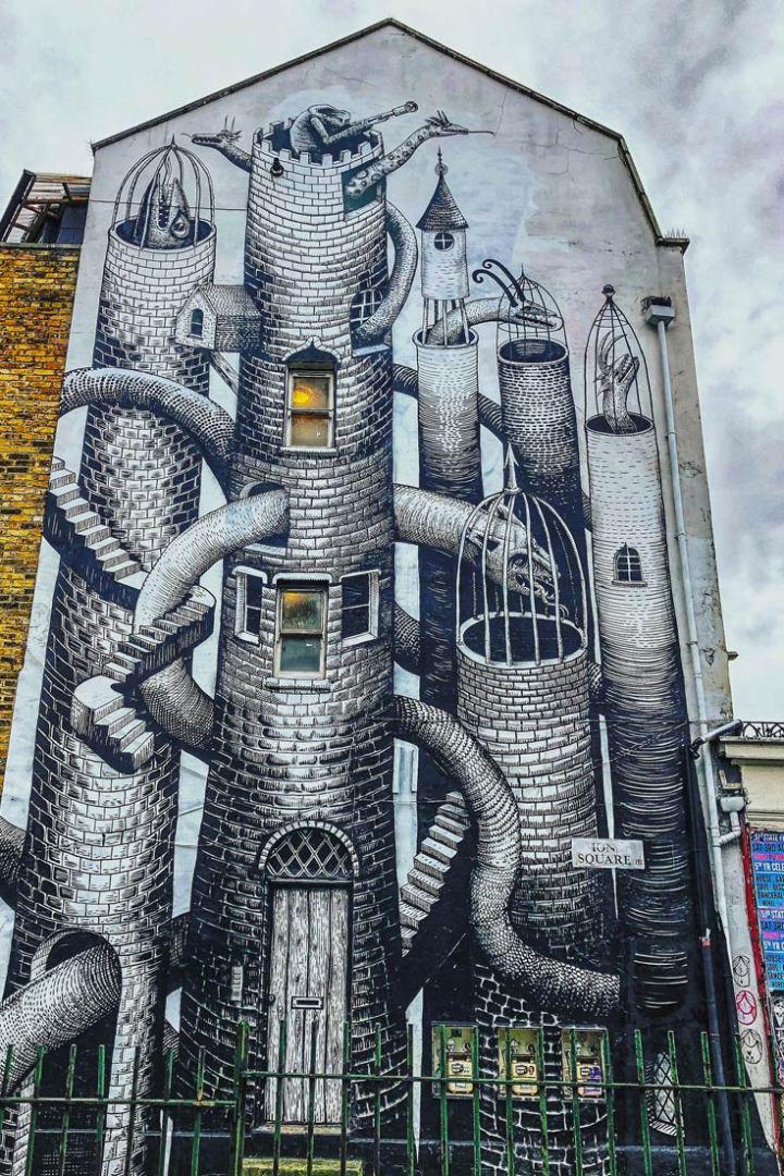 Phlegm street art Hackney