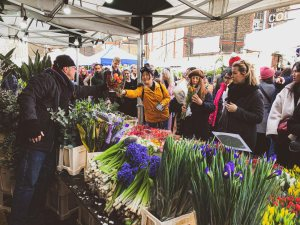 Columbia Road Flower Market in East London is open every Sunday