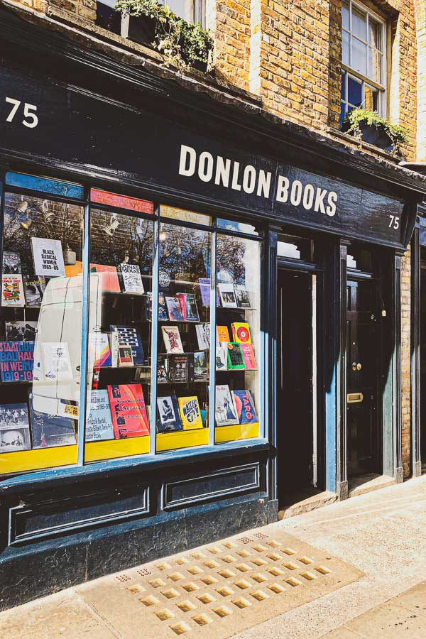 Exterior of Donlon Books bookshop in Broadway Market