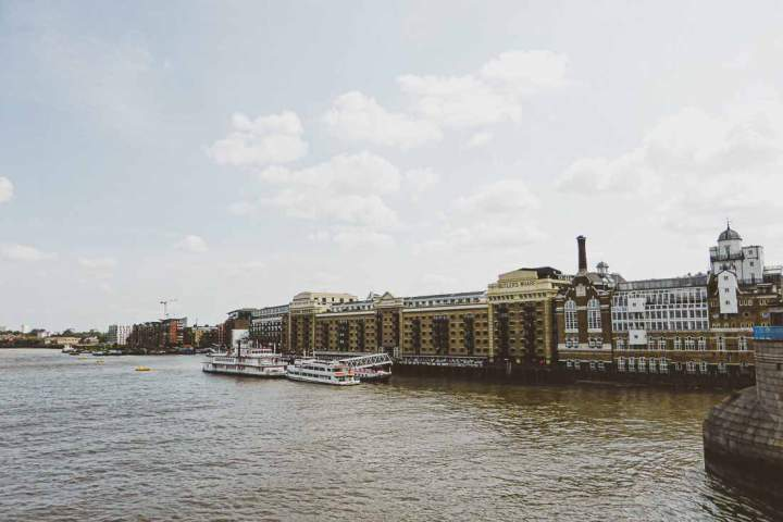 View of Butler's Wharf on the Thames next to Tower Bridge