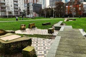 Altab Ali park in Whitechapel, London, with the remains of the destroyed church