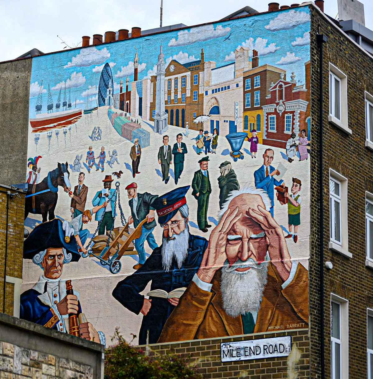 Mural on Mile End Road of famous people in Whitechapel, London history