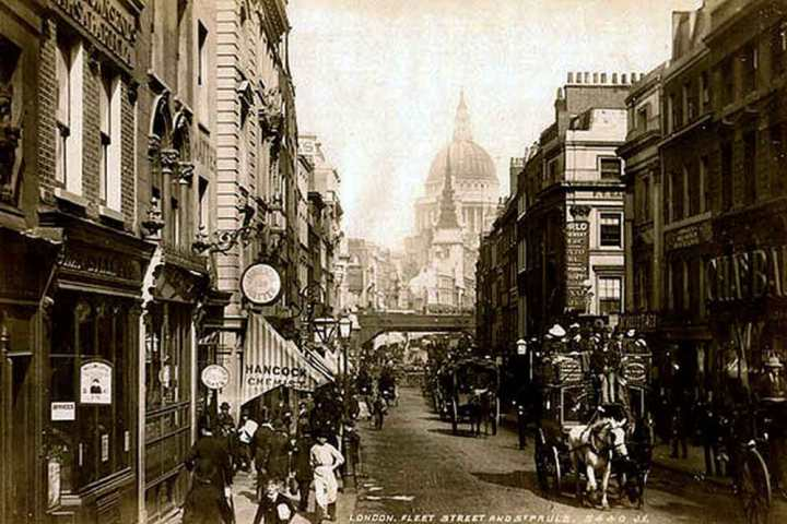 Photo of Fleet Street, London from c1890 looking towards St Paul's Cathedral