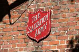 Salvation Army logo sign on the wall