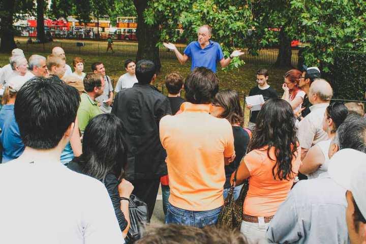 Speaker and small crowd in Speakers' Corner, Hyde Park