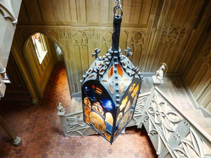 Gothic lantern hanging in the staircase of Strawberry Hill House