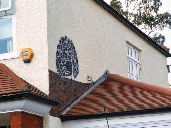Beerens street art in Dulwich, London, based on Murillo's Three Boys