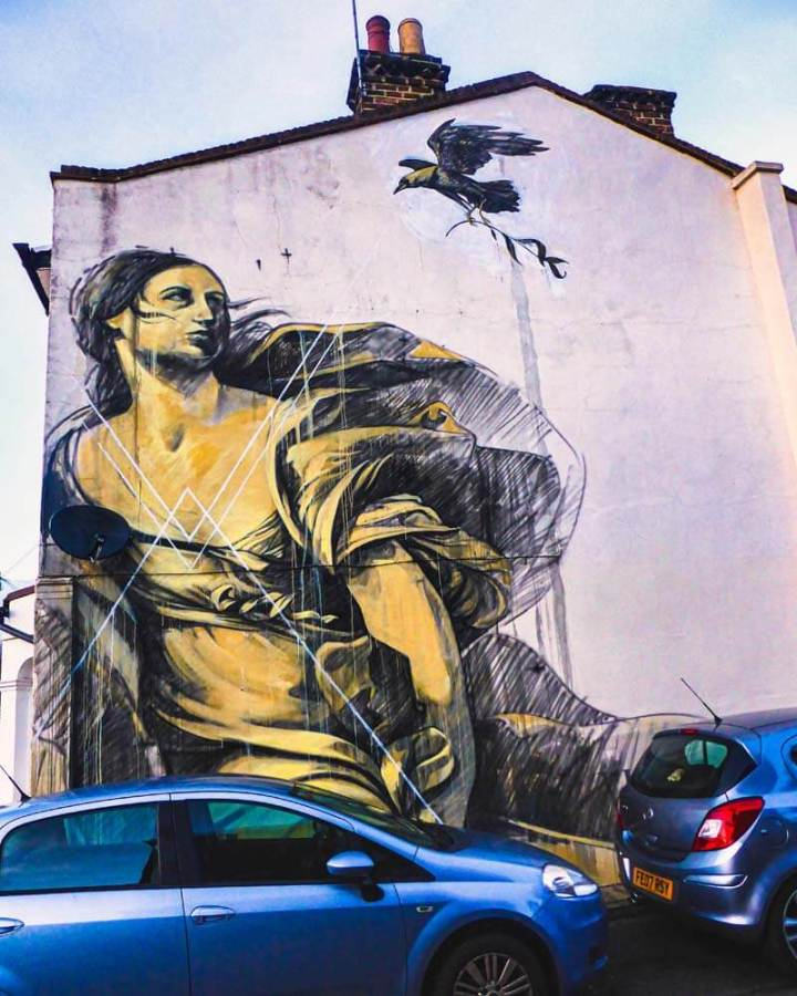 Faith47 street art mural in Dulwich, London, based on the painting 'Europa and the Bull' by Guido Reni