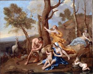 Painting 'The Nurture of Jupiter' by Nicolas Poussin