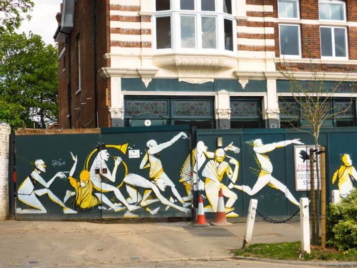 Mural by RUN in Dulwich, London, based on the painting 'The Triumph of David' by Nicholas Poussin