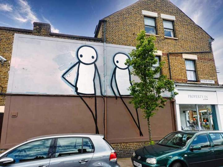 Stik street art mural based on 'A Couple in a Landscape' by Thomas Gainsborough as part of the Dulwich Outdoor Gallery
