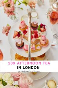 Pinterest image to pin 10 best places for afternoon tea in London