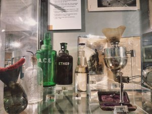 display of old medical appliances in The London Royal London Hospital Museum in Whitechapel, London