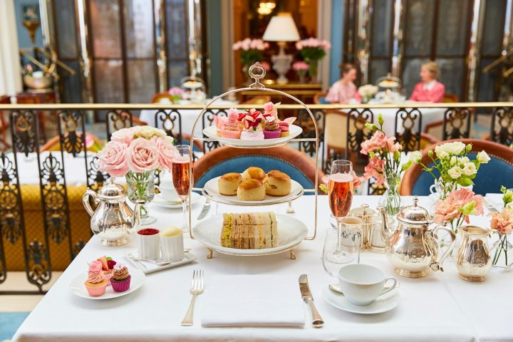 elegant display of afternoon tea in London served at The Lanesborough Hotel in collaboration with Peggy Porschen cake shop