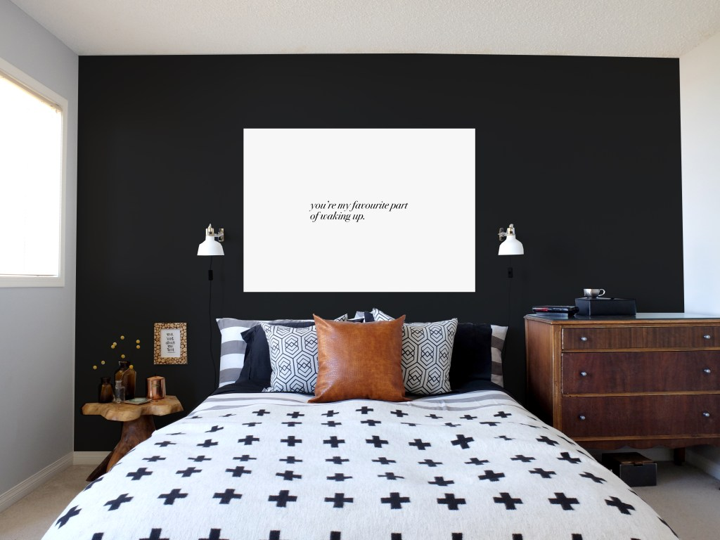 Dutchie Love Master Bedroom with custom typography canvas
