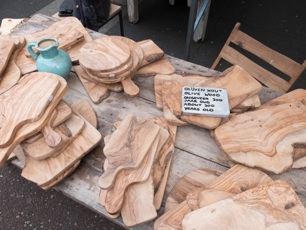 Olive wood at the Albert Cuyp Market in Amsterdam, Netherlands - Dutchie Love