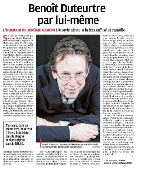 Benoît Duteurtre, Livre pour adulte, Jérôme Garcin, La Provence, 13 novembre 2016