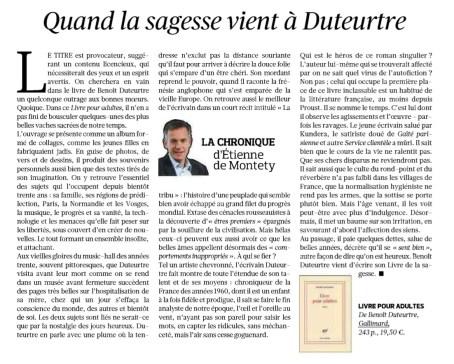 Benoît Duteurtre, Livre pour adultes, Étienne de Montety , Le Figaro Littéraire, 8 septembre 2016