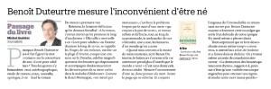 Benoît Duteurtre, Livre pour adultes, Michel Audétat , Le Matin Dimanche, 25 septembre 2016