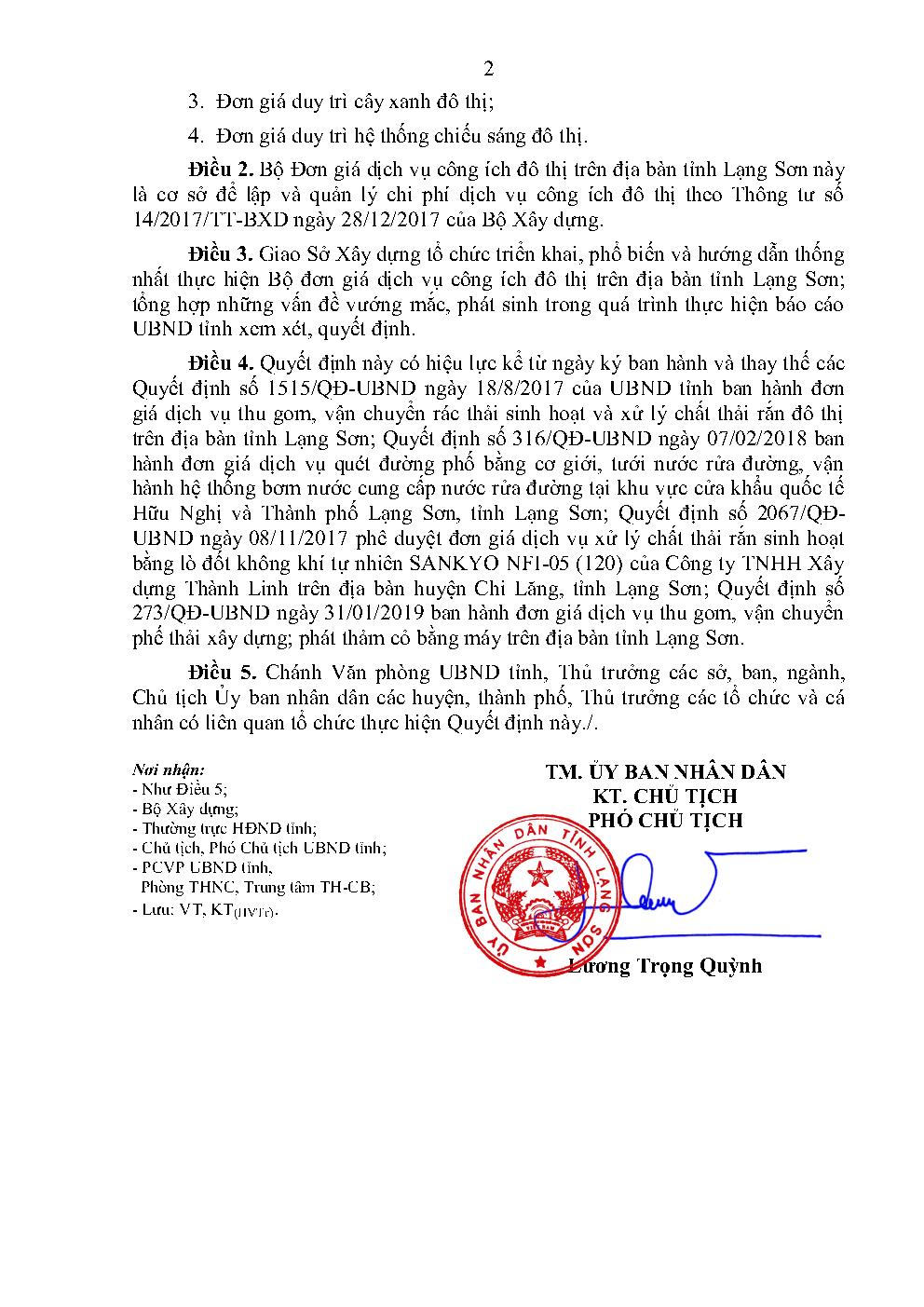 Đơn giá công ích tỉnh Lạng Sơn năm 2021
