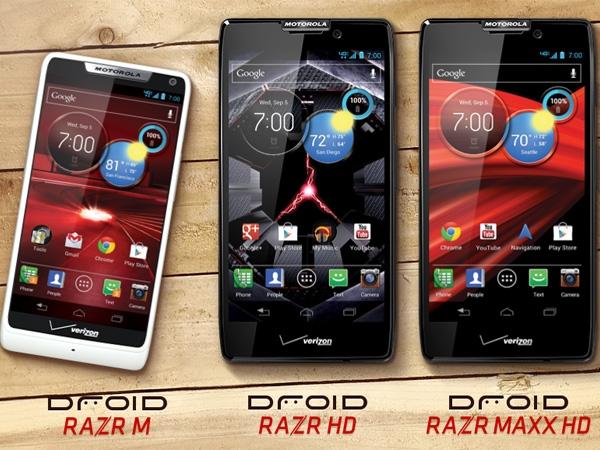 Droid Razr M, Droid Razr Maxx y Droid Razr HD