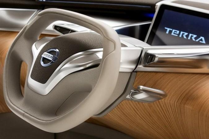 volante futurista en el interior de lujo del Nissan TeRRa Electric SUV Concept