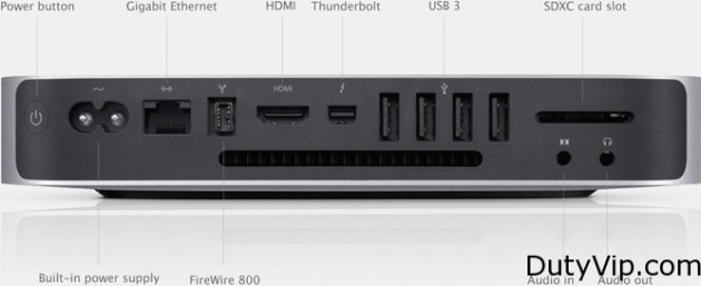 Apple Mac Mini parte trasera con puertos USB 3.0