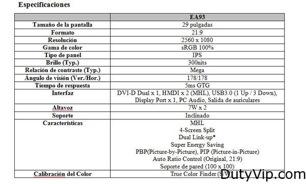 Especificaciones LG EA93