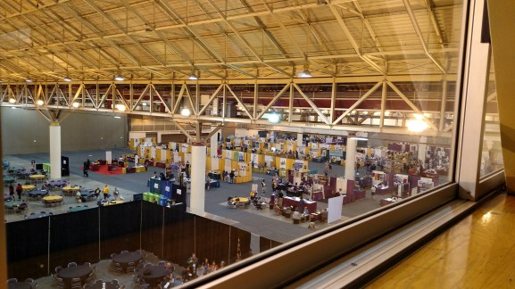 A view of the Exhibit Hall from above