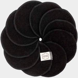 Zwarte wasbare wattenschijfjes