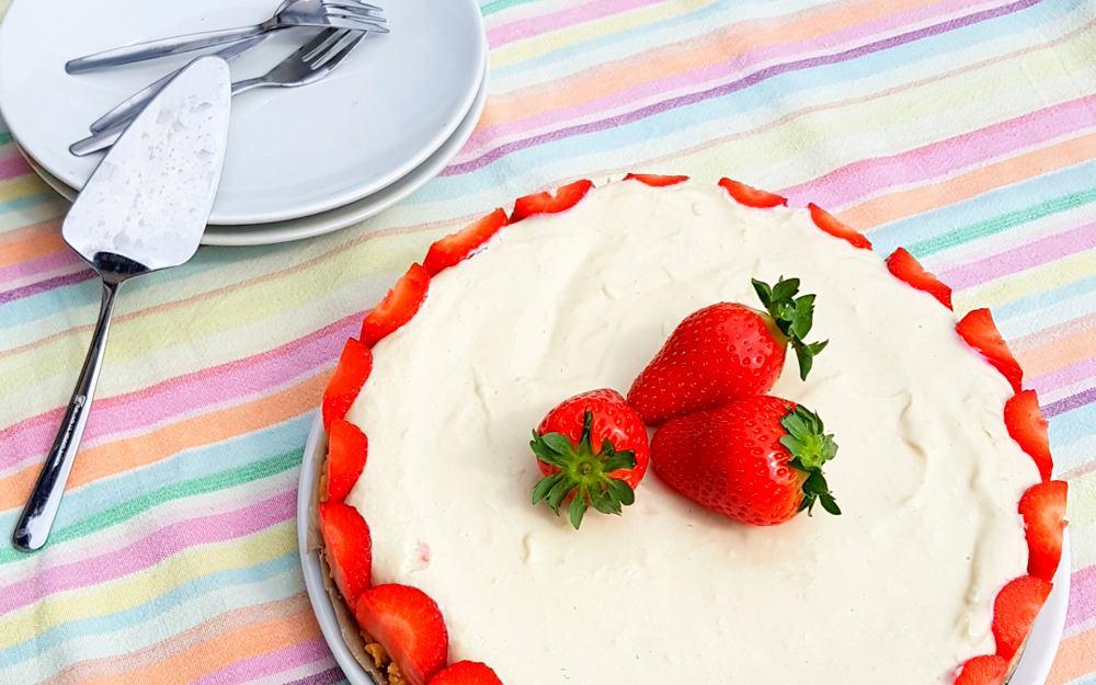 Recept: plantaardige kwarktaart met aardbeien